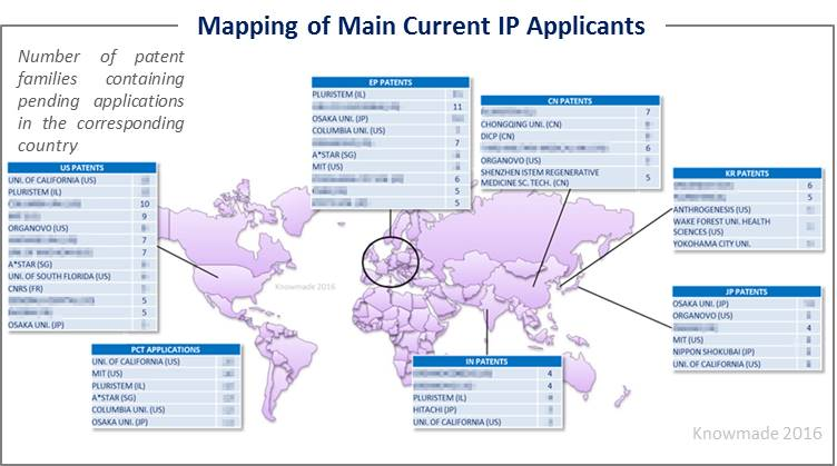 Mapping of main current IP applicants 3D Cell culture
