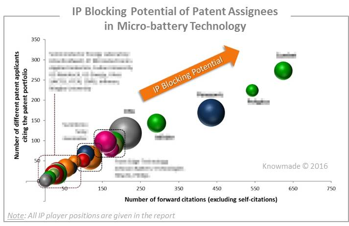 IP Blocking Potential of Patent Assignees in Microbattery Technology